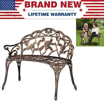 - US Outdoor Patio Garden Bench Yard Park Furniture Cast Aluminum W/ Antique Rose