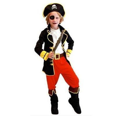 Boy Kids Girl Pirate Costume Fancy Dress Jack Buccaneer Halloween Outfit Boys NS - Kids Pirate