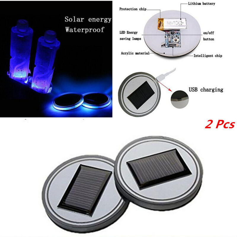 1 Pair Solar Energy Car Cup Bottle Bottom Holder Pad Atmosphere Light Blue LED