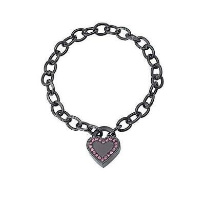 2JEWELS Bracciale donna 231148 acciaio charms cuore brillantini nero originale