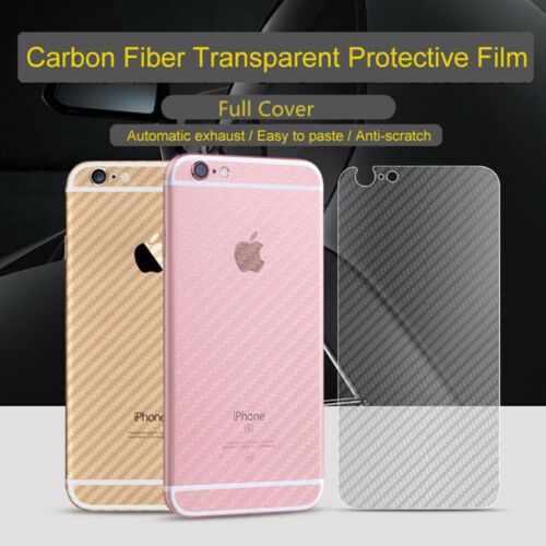 3PCS/Pack Full Cover Carbon Fiber Back Film Protector Case Sticker for iPhone