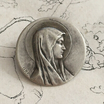Pin Religious Virgin Marie Solid Silver Signed Obg - Antique Silver Brooch