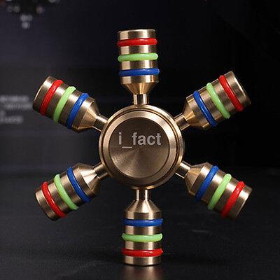 Glowing Brass Hand Spinner Fidget Steel Ball Desk EDC Focus Toy Kids/Adult Gift