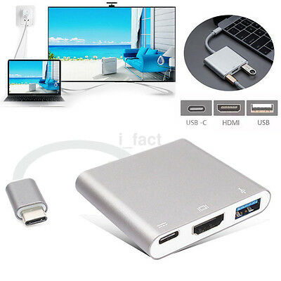 Type C USB 3.1 to USB-C 4K HDMI USB3.0 Adapter 3 in 1 Hub For Apple Macbook 1PCS
