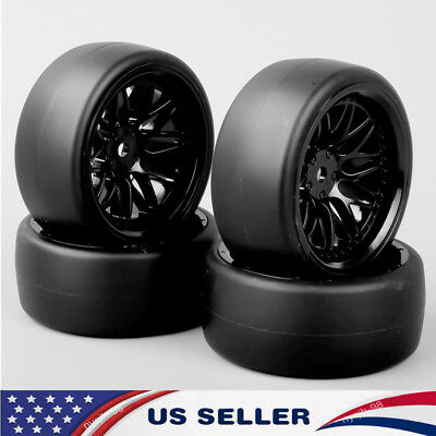 (US 4X Flat Drift Slicks Tires&12mm Hex Wheel For HSP 1:10 RC On Road Racing Car)