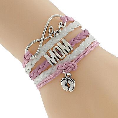 Women's Fashion Jewelry Mom Baby New Born Footprints Charm Leather Bracelet 28-3](Mom Charm Bracelet)