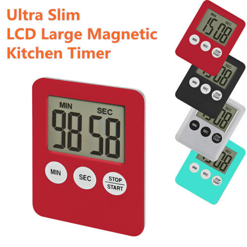 Thin Mini Electronic Kitchen Digital LCD Magnetic Countdown Timer Cooking Alarm