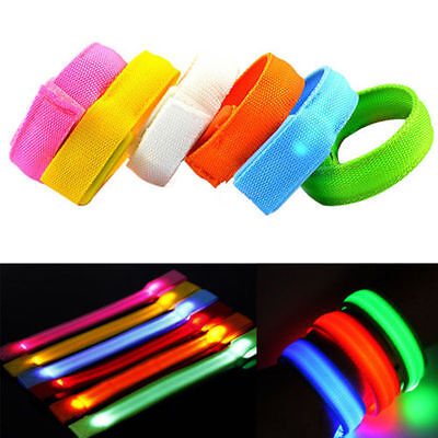 Glowing LED Flashing Wrist Band Bracelet Arm Band Belt Light Up Dance Party IFA - Led Wrist Bands