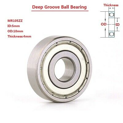4pc Mini Deep Groove Ball Bearing Mr105zz 5x10x4mm Bearing Steel Double Shielded