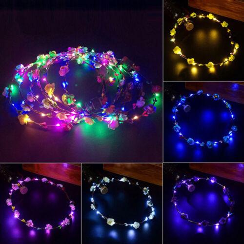 Girl Crown Floral Garland LED Hair Wreath Flower Headband Hair Decor Accessories