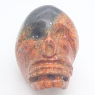 Chinese culture hand carved jade red black skull amulet oranment pendant D510