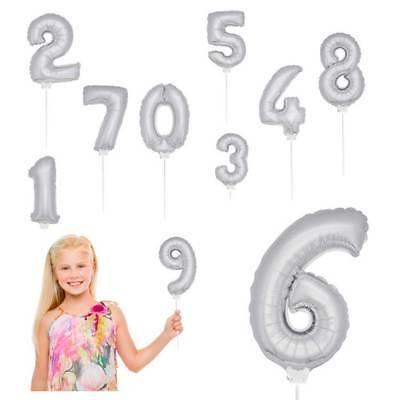 Folienballon mit Stab klein silber aufblasbar Geburtstag Jubiläum Dekoration NEU