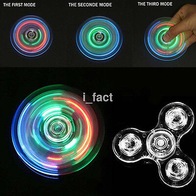Transparent Colorful LED Light Up EDC Tri Fidget Hand Spinner Stress Kids Toy US