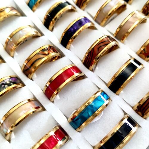 Wholesale new 36pcs Gold 316L Shell Mix 8mm Stainless Steel Rings Comfort fit