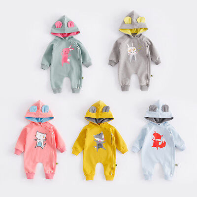 BABY BOY GIRL THICK WINTER ROMPER WITH HAT BABY WOOL THICKEN BABYGROW OUTFIT SET - Thick Girl Outfits