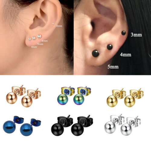 8* Punk Gothic Jewelry Stainless Steel Round Ball Women Men's Ear Stud Earrings