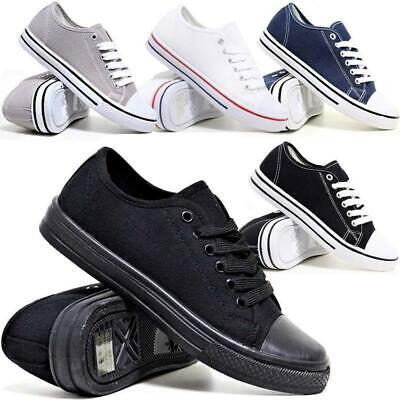Mens Boys Lace Up Casual Canvas Fashion Skater Plimsolls Trainers Pumps Shoes