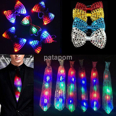 Fashion Mans LED Light Up Flashing Sequin Bowtie Necktie Bow Tie Dancing Party u](Led Necktie)