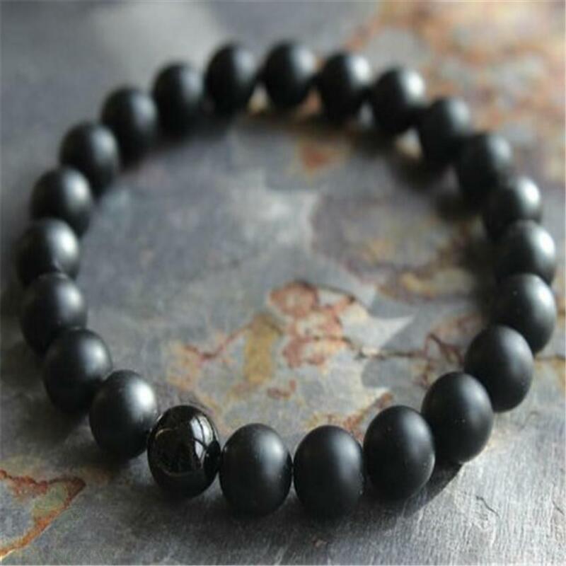Mens Matte Black Onyx Yoga Energy Beaded Bracelet Boyfriend Lucky Buddhism MONK