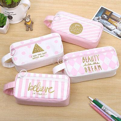 Canvas Zipper Pencil Case Box Pink White Pen Bag Holder Large Pouch Fashion US