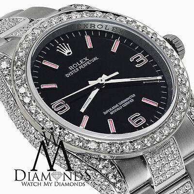 Rolex Oyster Perpetual 36mm Black with Pink Dial Custom Diamond Watch 116000