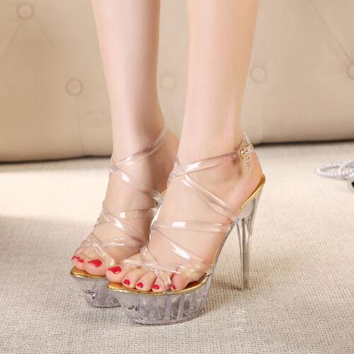 Hot Women/'s Clear Transparent Shoes High Heels Ankle Strap Sandals Stilettos New