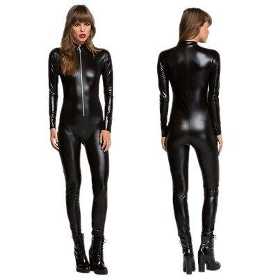 Black Catwoman Jumpsuit (Black Shiny Catsuit Jumpsuit Catwoman Ladies Fancy Dress Clubwear)