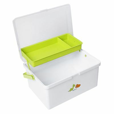 Safetots Dinosaur Print Baby Changing Box Organiser White/Lime