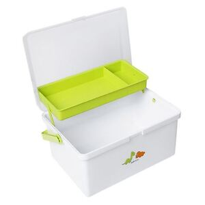 Safetots Dinosaur Print Baby Changing Box Organiser White/Lime