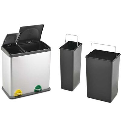 36L Stainless Steel 2 - Compartment Large Recycle Pedal Bin Recycling (12L+24L)