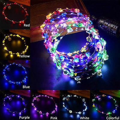 Wedding Xmas Party Women Girls LED Light Up Flower Headband Hair Wreath Garland (Xmas Headbands)