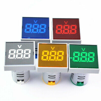 Square Led Digital Voltmeter Voltage Ac Indicator Ammeter- Ac 20v To 500v 22mm