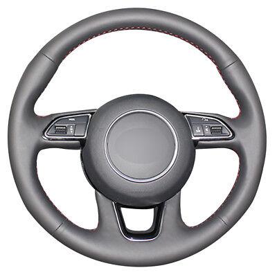 Black Genuine Leather Car Steering Wheel Cover for Audi Q3 Q5 2013 2014 2015