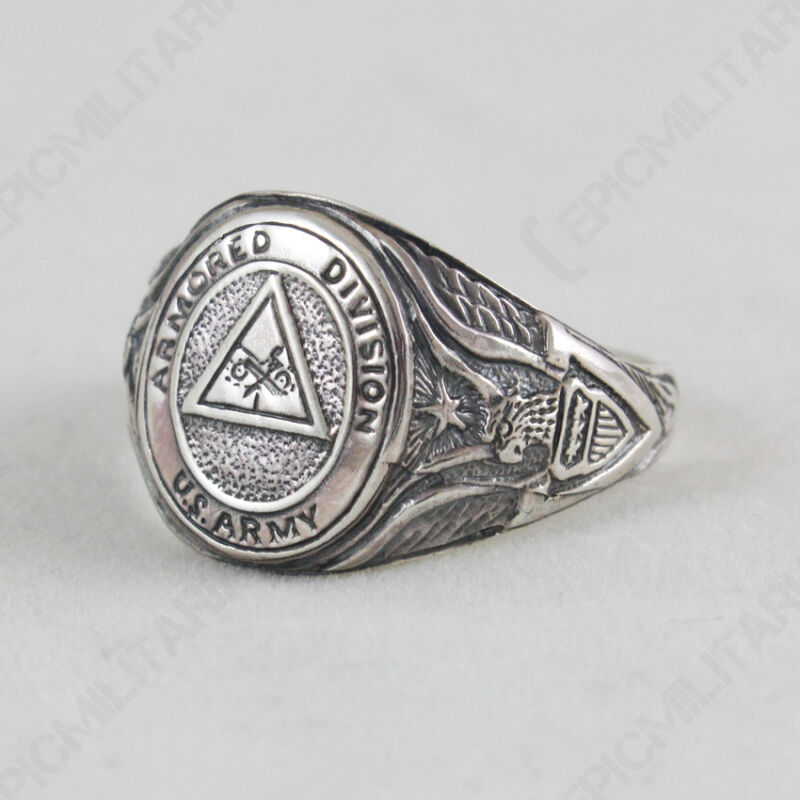 US ARMORED DIVISION RING - Silver Jewellery Military WW2 American Style Army New
