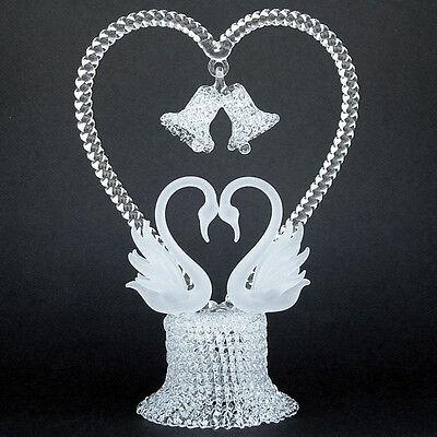 Swans Heart Hand Blown Glass Wedding Cake Top -