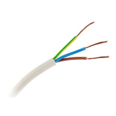 Cable manguera eléctrica flexible 3x0,75mm² blanca H03VV-F, fina Ø5,70mm (10mts)