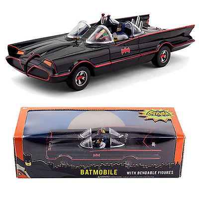 NJCroce 1966 Classic TV Series Batmobile w/ Bendable Batman & Robin Figures 1:24