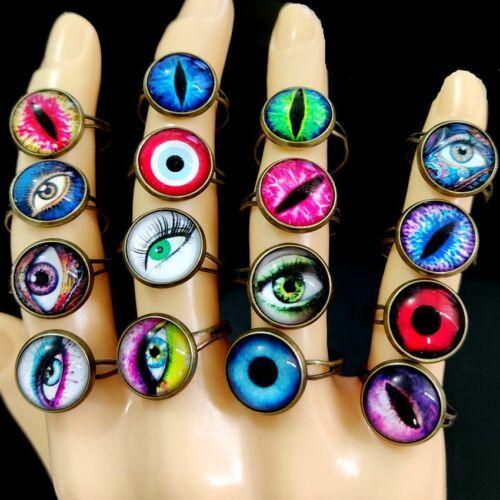 30pcs Multi-design TOP MIX Women Punk Evil Eye Ring Retro Bronze Demon Eye Rings