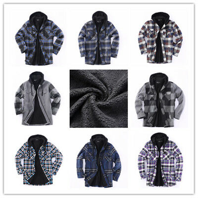 Hooded Zip Flannel Jacket Plaid Jacket With Sherpa Lined Heavy Fleece US Stock
