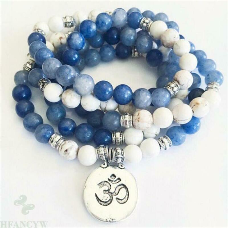 8mm Howlite Blue Jade Gemstone Mala Bracelet 108 Bead pendant Wrist Buddhism Hot