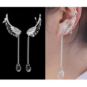 Angel Wing Crystal Silver Plated Earrings Drop Dangle Ear Stud Cuff Clip AG