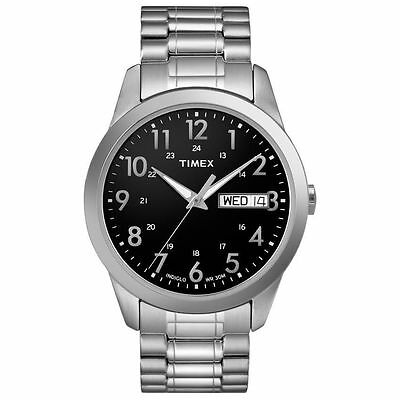 Timex T2M932, Men's Silvertone Expansion Band Watch, Indiglo, Day/Date