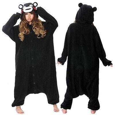 Adult Anime Black Bear Kumamon Cosplay Costume Pajamas Sleepwear For Women Men