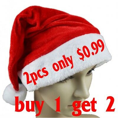 2x Soft Plush Ultra Thick Santa Claus Patry Christmas Cap Hat For Adults & - Christmas Hats For Adults
