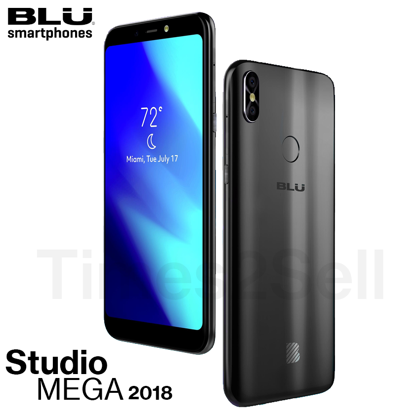 "Android Phone - Blu Studio Mega 2018 6.0"" HD Unlocked Phone Android Oreo (Go Edition) Black New"