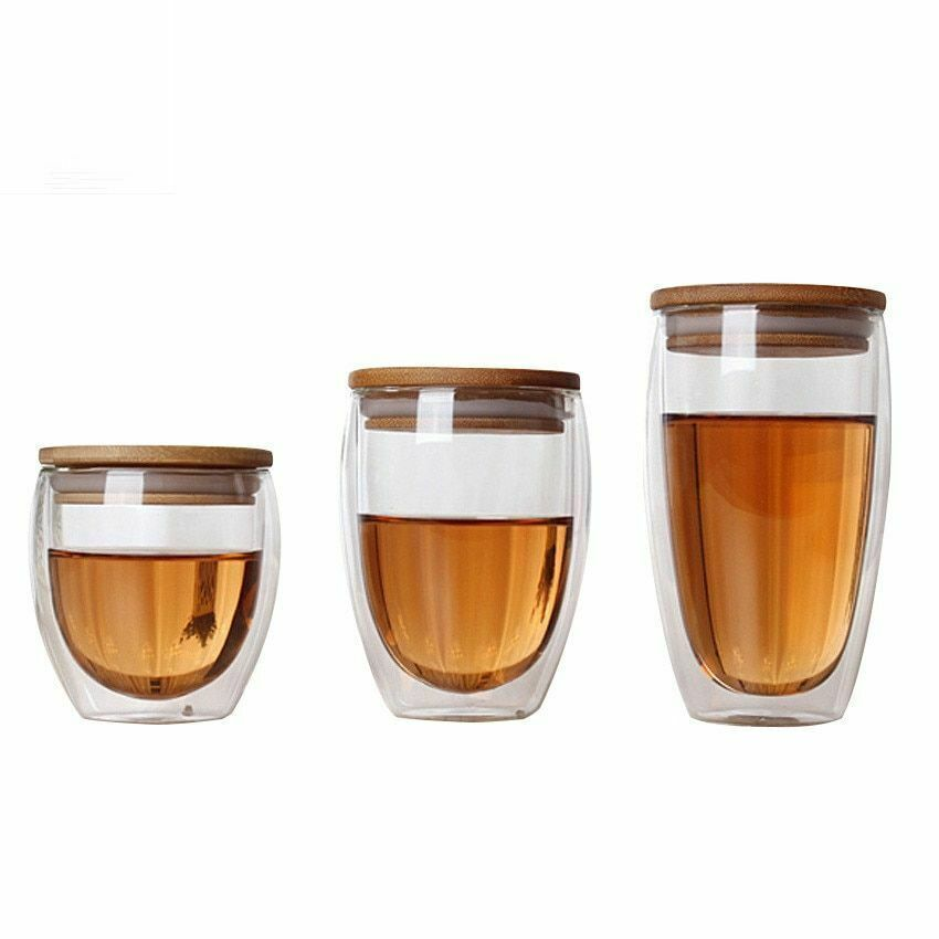 transparent glass tea cup double wall insulation