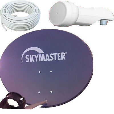 60cm SAT Antenne Skymaster Satellitenschüssel Digital +15m Kabel LNB Spiegel HD