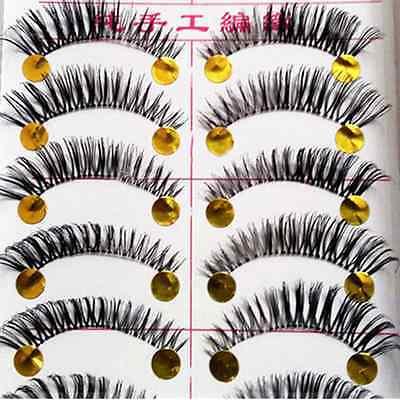 10 Pairs Natural Long False Eyelashes Eye Lashes Extension Thick Makeup Tool US