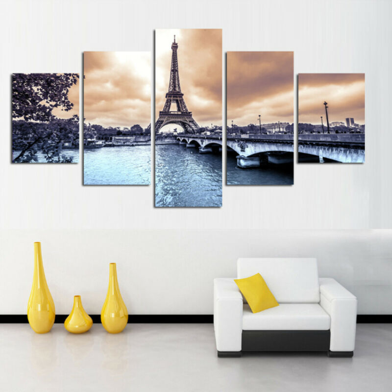 5Pcs Abstract Eiffel Tower Oil Painting Home Wall Decoration Canvas Art Paints