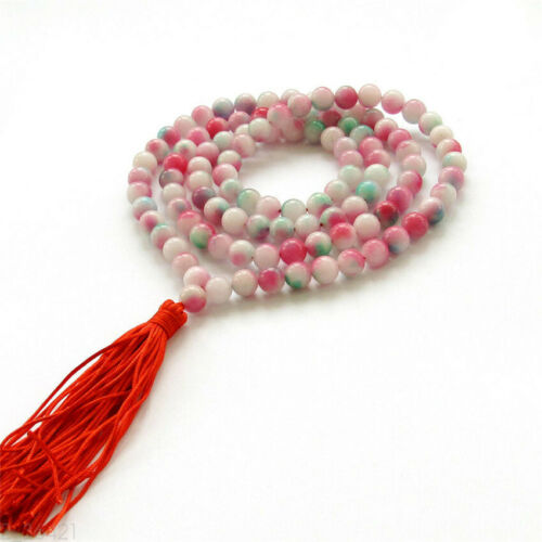 8mm Pink Jade Bracelet Chakas Healing Ruyi Bless spirituality Buddhism Wrist